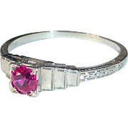18k Art Deco White Gold Ring w Synthetic Ruby