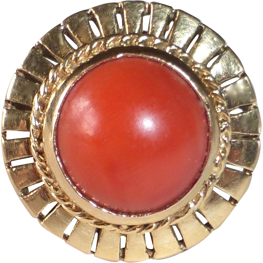 18k Rose Gold Coral Cabochon Domed & Pierced Ring