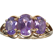 9k Triple Faceted Amethyst Ring