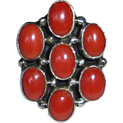 Native American Navajo Sterling Coral Cluster Ring