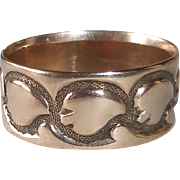 Victorian 10k Rose Gold Embossed Leaf Design Band Ring