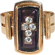14k Rose Gold Ring Diamond Cross in Amethyst Glass