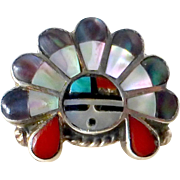 Native American Zuni Sterling & Stone Inlay Ring