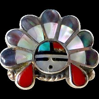Native American Zuni Sterling & Stone Inlay Ring