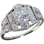 Art Deco Platinum & Diamond Ring Stepped Setting
