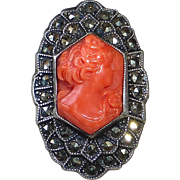 Uncas Sterling Rare Art Deco Coral Cameo Ring w Marcasites