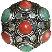 Antique Chinese Sterling Jade & Coral Ring
