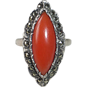 Art Deco Sterling Coral & Marcasite Ring