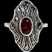 Art Deco Sterling Ring Garnet & Marcasite