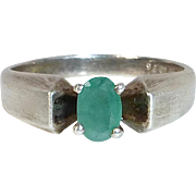 Modernist Sterling Ring w faceted Emerald