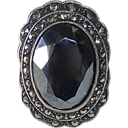 Uncas Sterling Art Deco Marcasite & Hematite Ring