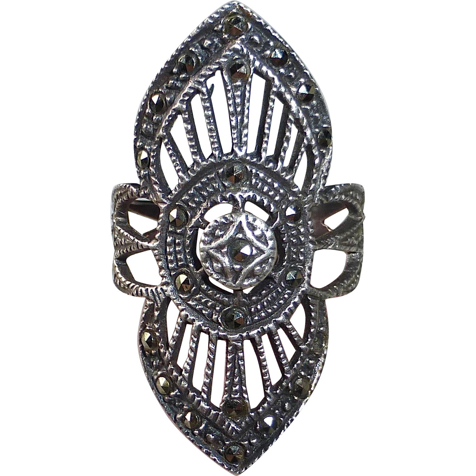 Sterling & Marcasite Large Openwork Design Ring