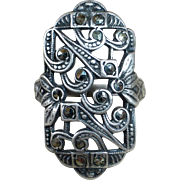 Art Deco Uncas Sterling Asymmetrical Pierced Marcasite Pinky Ring