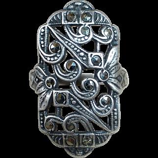 Art Deco Uncas Sterling Asymmetrical Pierced Marcasite Pinky Ring