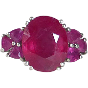 Sterling Ring w Seven Natural Faceted Rubies
