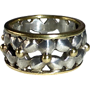 Sterling & 14k Floral Band Ring
