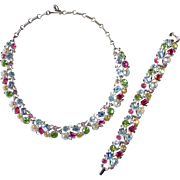 Lisner Multi Color Pastel Rhinestone Bracelet & Necklace Set