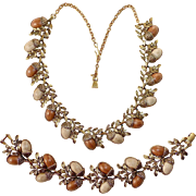 1950s Bracelet & Necklace Set Acorn Motif in Goldtone & Wood