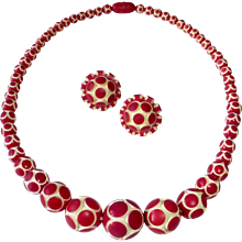 Art Deco Carved Carved & Tinted Polka Dot Bead Necklace & Earrings - Red Tag Sale Item