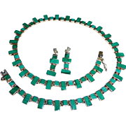 Mexican Sterling & Malachite Necklace & Earrings Set