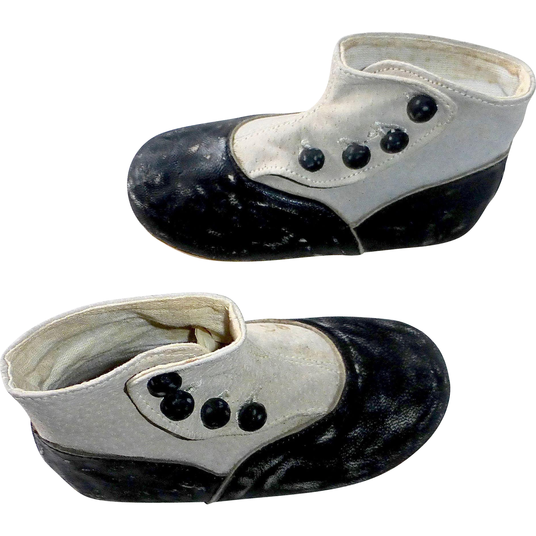 Antique Back & White Leather High Button Top Baby Shoes