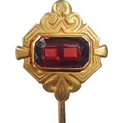 14k Art Deco Faceted Garnet Stickpin