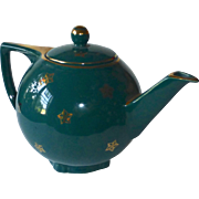 1940s Hall 6 Cup Gold Gilt Star Tea Pot