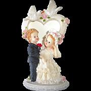 Vintage Wedding Cake Topper Child Like Bride & Groom