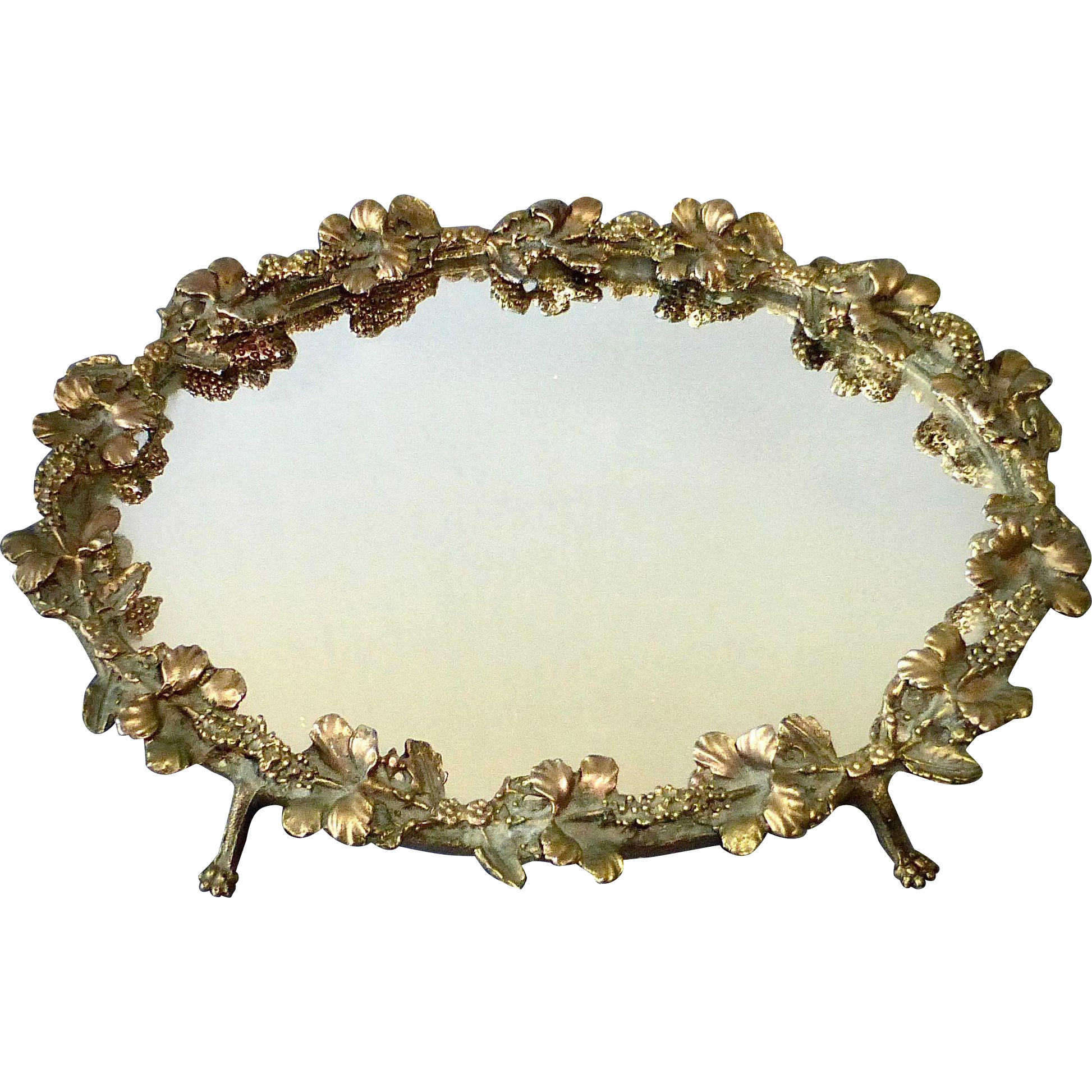 Mirrored Dresser Tray w Sculptural Gilt Hibiscus Frame