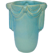 Aqua Blue Ceramic Vase with Draped Design