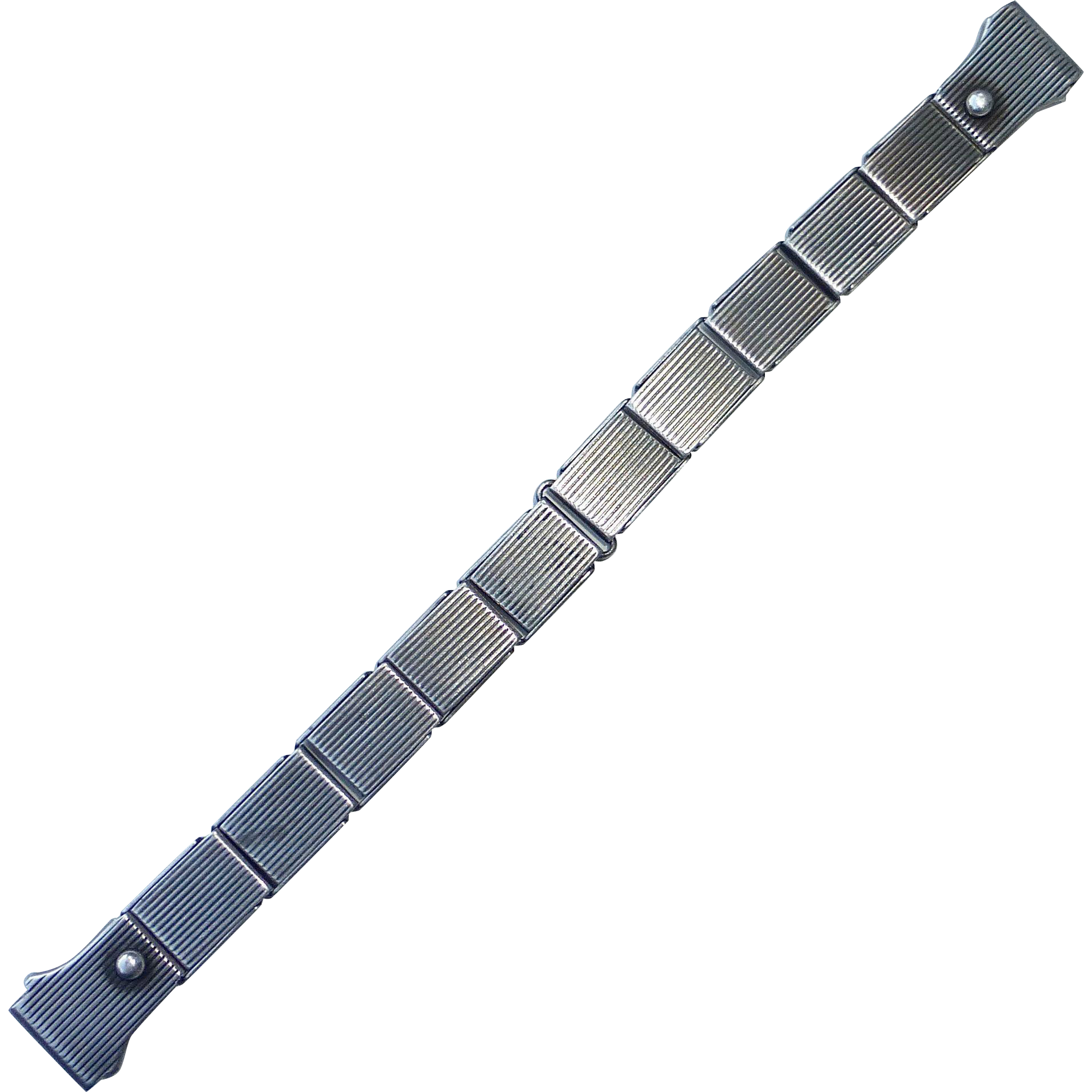 Sterling Watchband w Spring Expanding Link Design