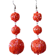 Beaded Orange Graduated Orb Pierced Earrings