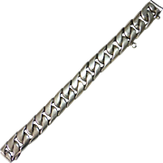 Heavy Mexican Sterling Domed Curb Link Bracelet