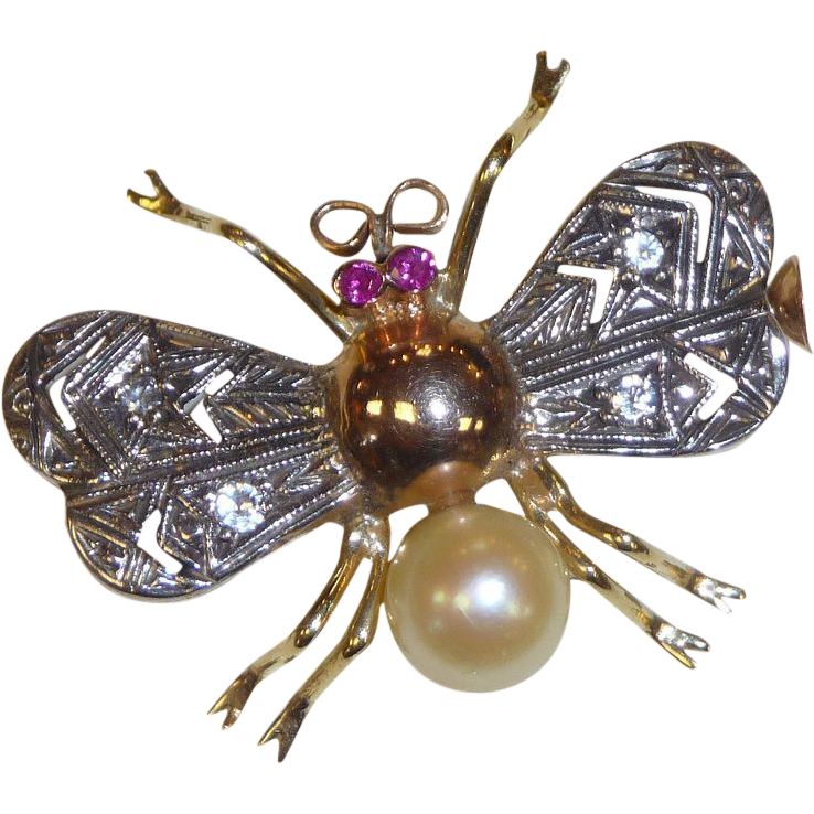 18k Ruby, Pearl & Diamond Art Deco Bug Pin