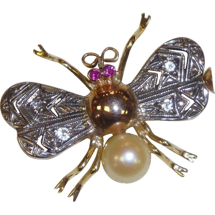 18k Ruby, Pearl & Diamond Art Deco Bug Pin