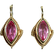 14k Pink Tourmaline Leverback Pierced Earrings