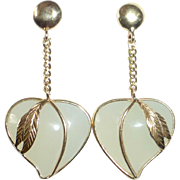 14k & Poured Glass Heart Drop Pierced Earrings