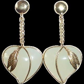 14k & Poured Glass Heart Drop Pierced Earrings