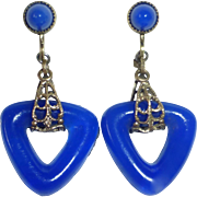 Art Deco Brass & Molded Cobalt Glass Earrings