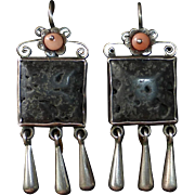 Mexican Sterling Drop Earrings w Lava & Coral