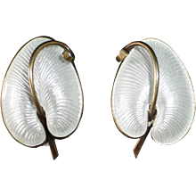 Denmark Sterling Enamel Anthurium Leaf Earrings VB Volmer Bahner
