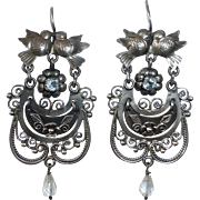 Mexican Sterling Pierced Drop Earrings Lovebirds & Aquamarine