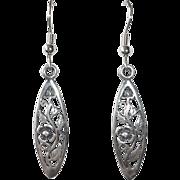 Sterling Pierced Floral Teardrop Earrings
