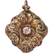 Antique Victorian 14k Rose Gold Patriotic Fob Charm Ruby, Sapphire & Diamond