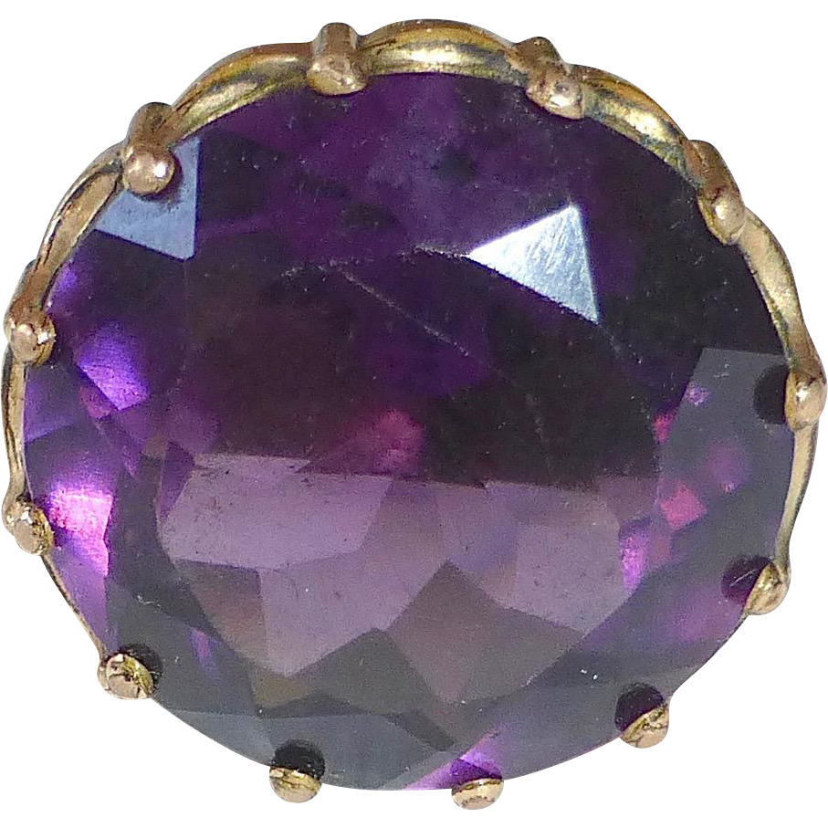 Victorian Faceted Amethyst Glass Jewel Top Hat Pin