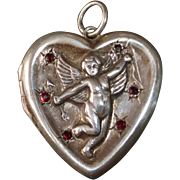 Sterling Heart Locket w Repousse Cupid Cherub Angel & Garnets