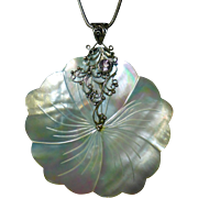 Sterling Necklace Large Carved Mother of Pearl Flower Pendant w Amethyst