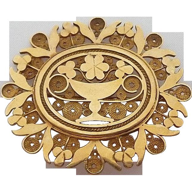 Exceptional Antique 18k Victorian Ornate Filigree Pin