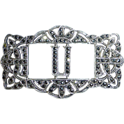 Art Deco Sterling Silver & Sparkling Marcasite U Initial Pin