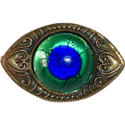 Peacock Eye Foil Art Glass Cabochon & Bronze Eye Pin